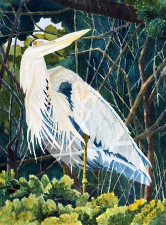Robert Davidson, Wooded Blue Heron, First Place - Alameda Library Show