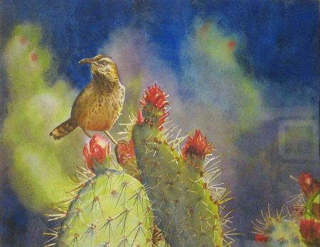 Yvonne Newhouse, Cactus Wren, 1st Prize San Leandro Library Show 2013