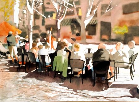 Marilyn Miller, Coffee Alfresco, First Place at Lindsay Dirkx Brown - Change of Seasons